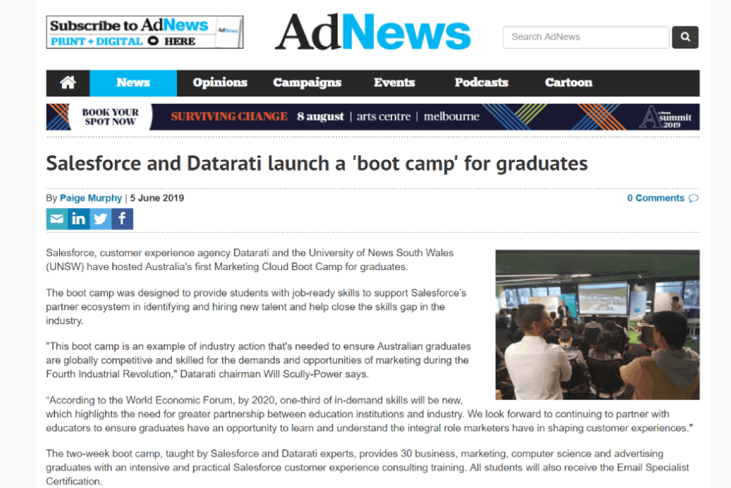 Salesforce and Datarati Launch a 'Boot Camp' for Graduates