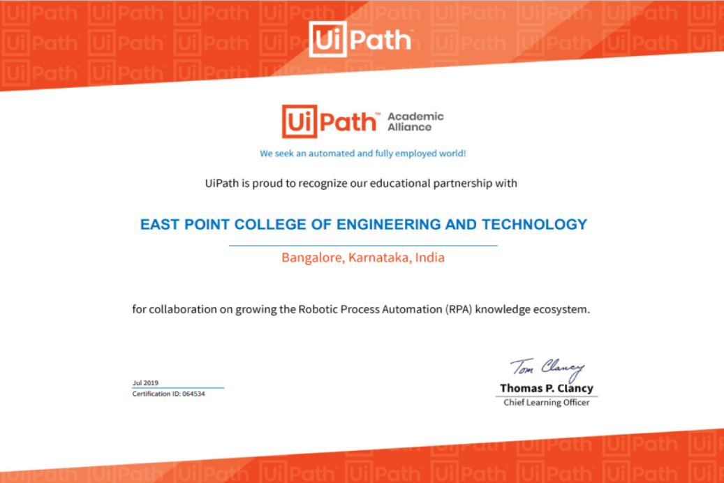 EPCET Signs MoU With UiPath, Global Automation Company | East Point