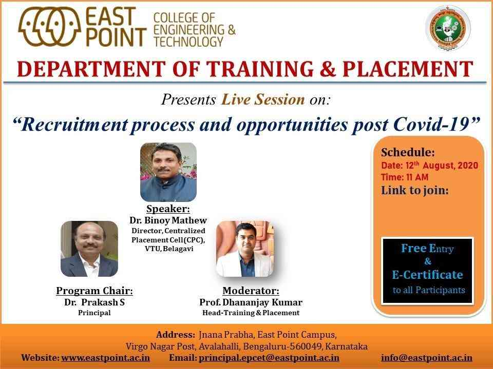 """Live Session on: """"Recruitment Process & Opportunities Post COVID-19"""""""